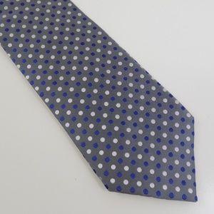 Geoffrey Beene Men's Necktie Gray Blue Polka Dot